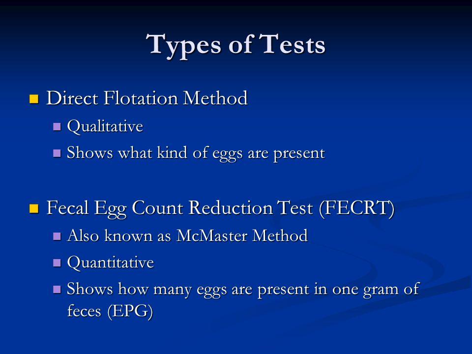Types of Tests Direct Flotation Method