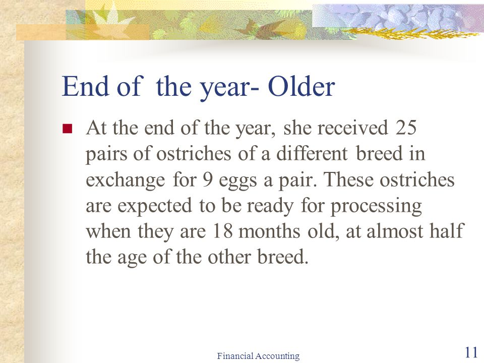 End of the year- Older