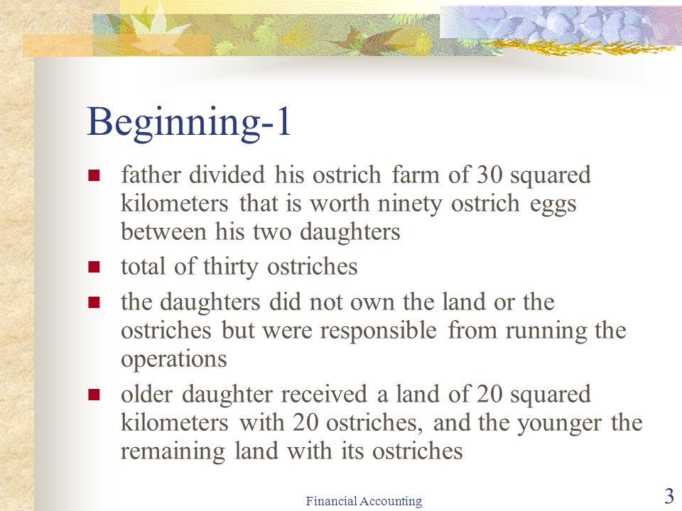 Beginning-1 father divided his ostrich farm of 30 squared kilometers that is worth ninety ostrich eggs between his two daughters.