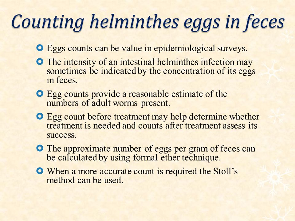 Counting helminthes eggs in feces