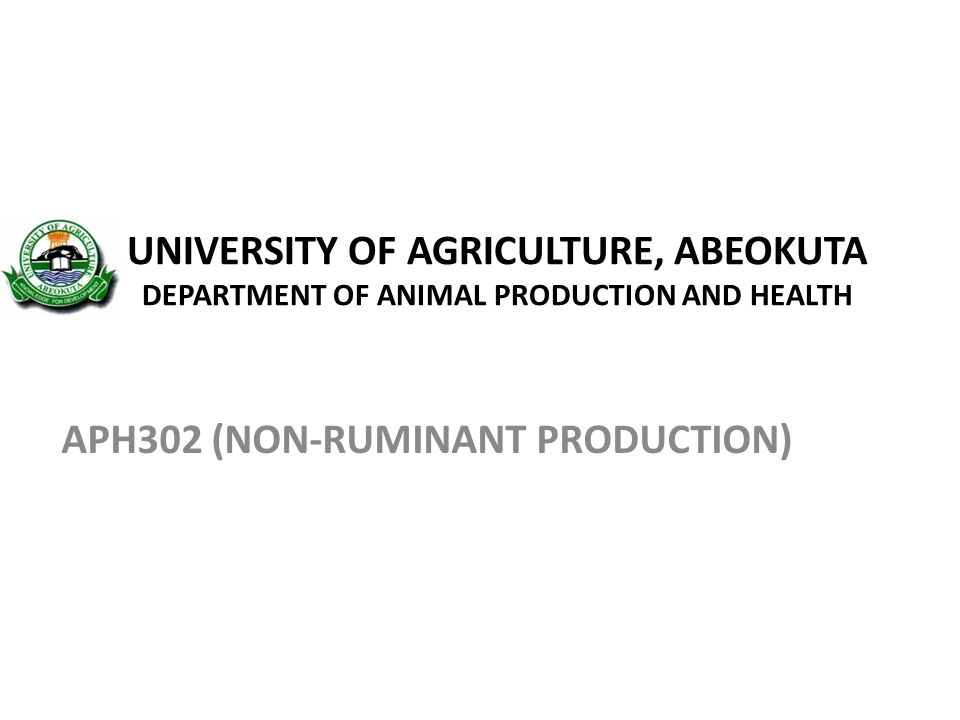 APH302 (NON-RUMINANT PRODUCTION)