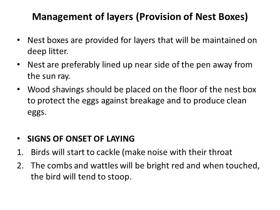 Management of layers (Provision of Nest Boxes)