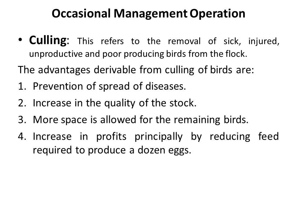 Occasional Management Operation