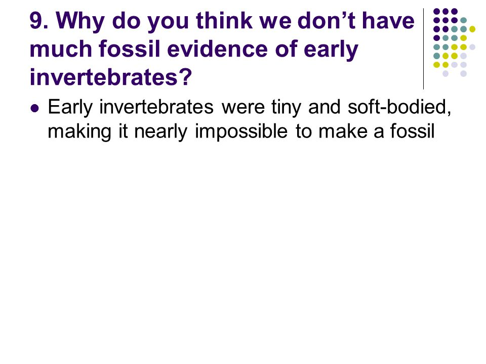 9. Why do you think we don't have much fossil evidence of early invertebrates