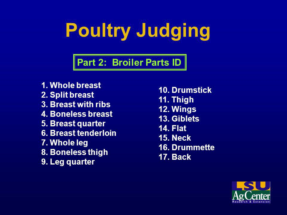 Poultry Judging Part 2: Broiler Parts ID 1. Whole breast