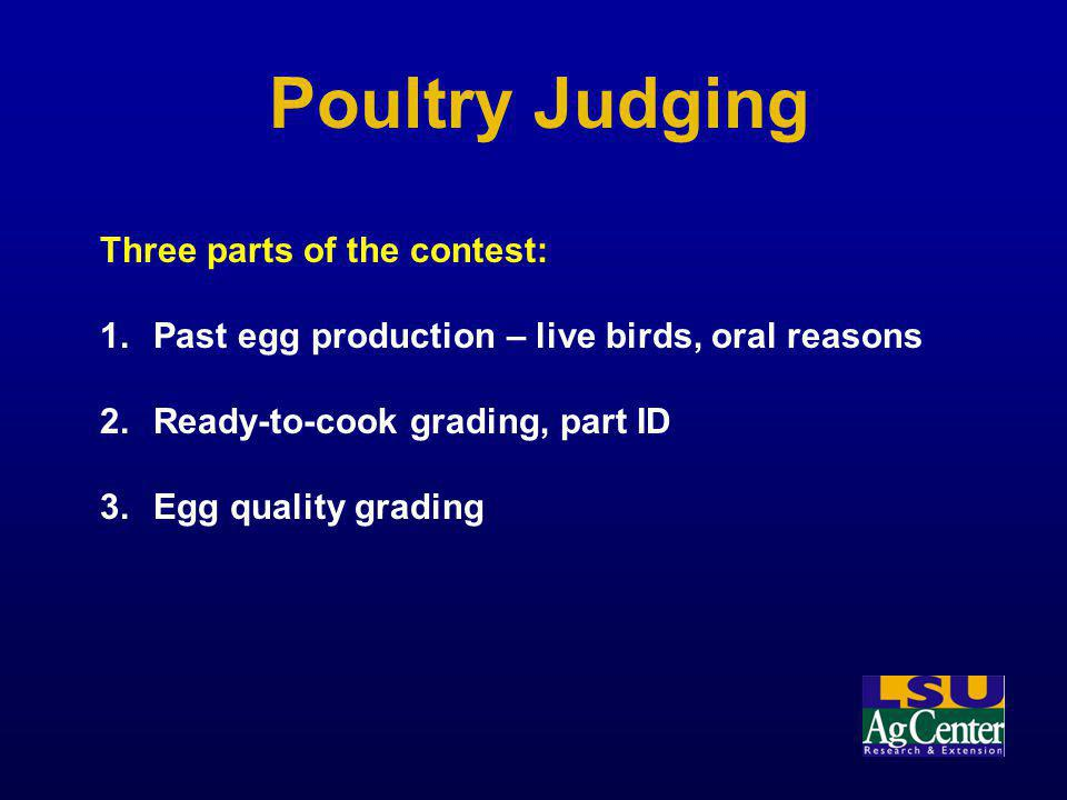 Poultry Judging Three parts of the contest: