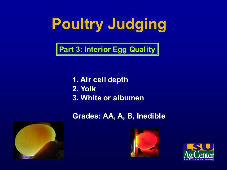 Poultry Judging Part 3: Interior Egg Quality 1. Air cell depth 2. Yolk