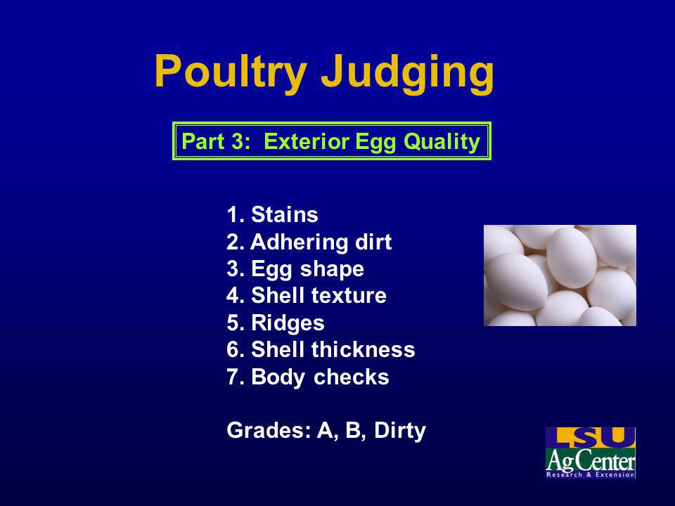 Poultry Judging Part 3: Exterior Egg Quality 1. Stains