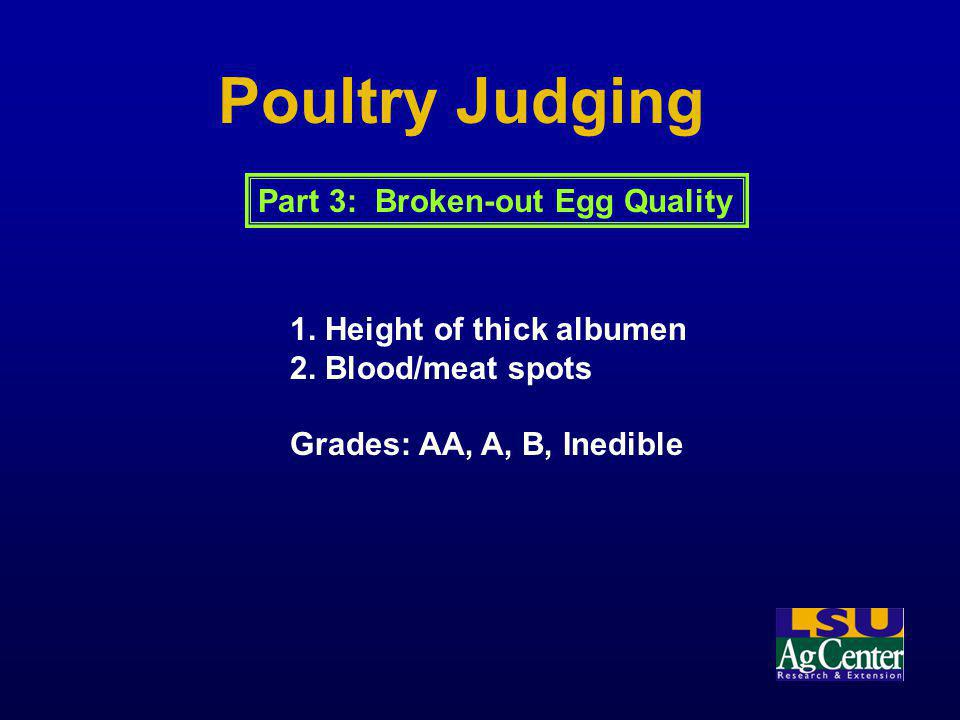 Poultry Judging Part 3: Broken-out Egg Quality
