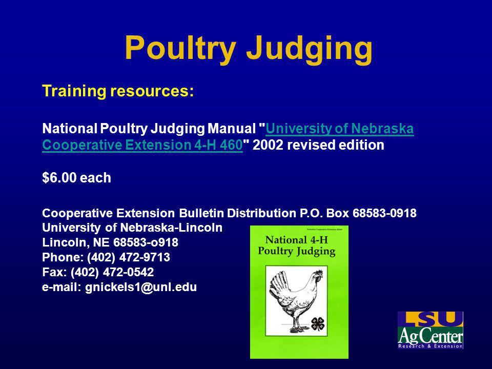 Poultry Judging Training resources: