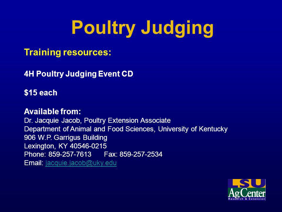 Poultry Judging Training resources: 4H Poultry Judging Event CD