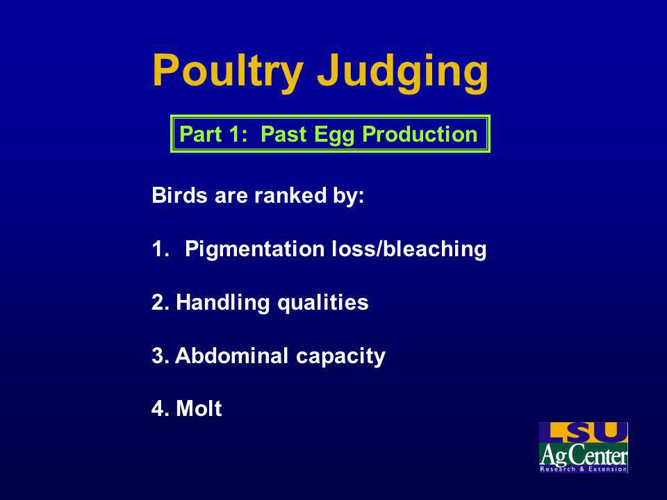 Poultry Judging Part 1: Past Egg Production Birds are ranked by: