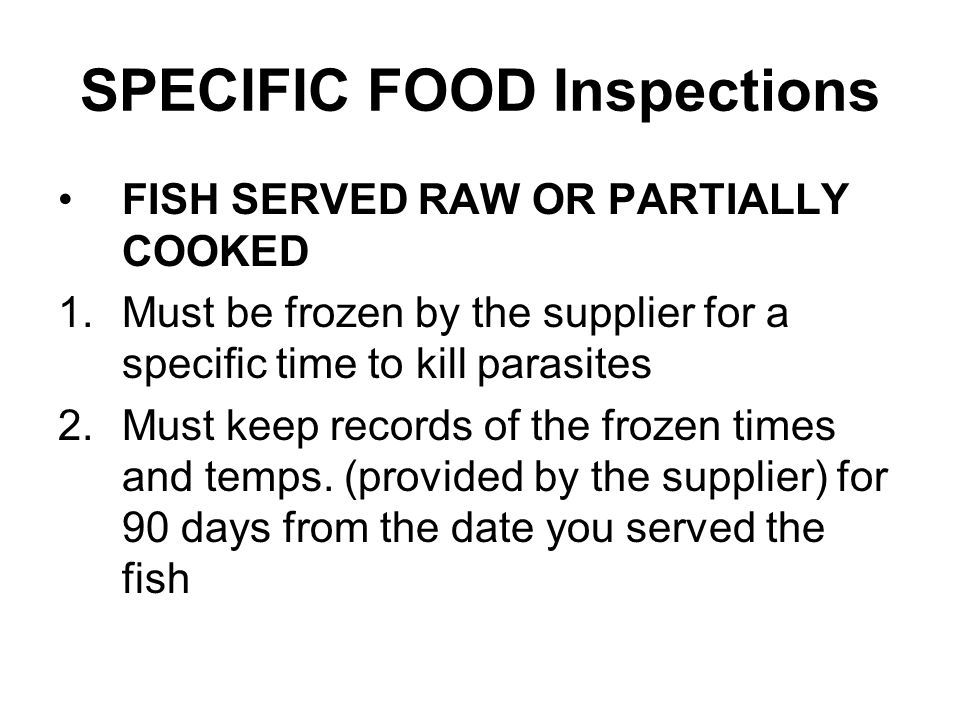 SPECIFIC FOOD Inspections