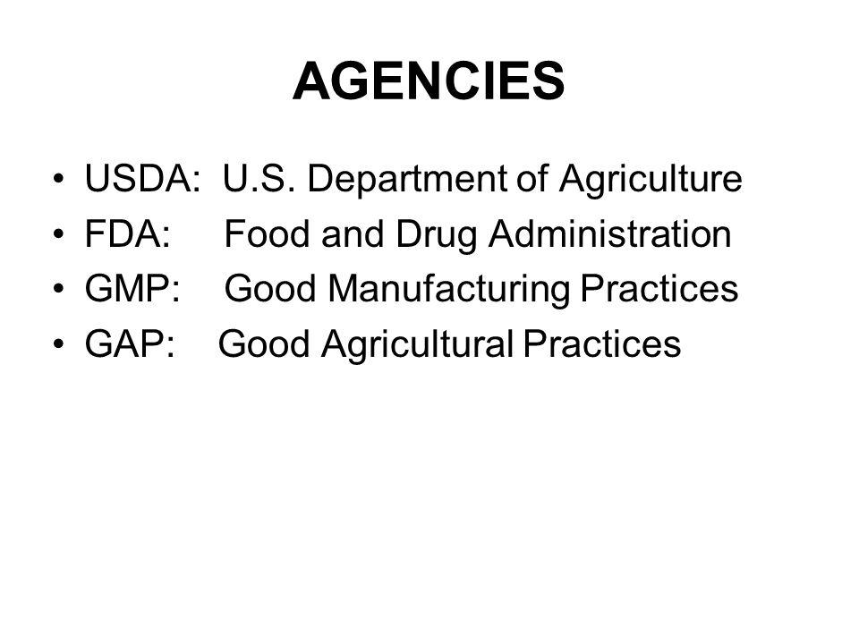 AGENCIES USDA: U.S. Department of Agriculture