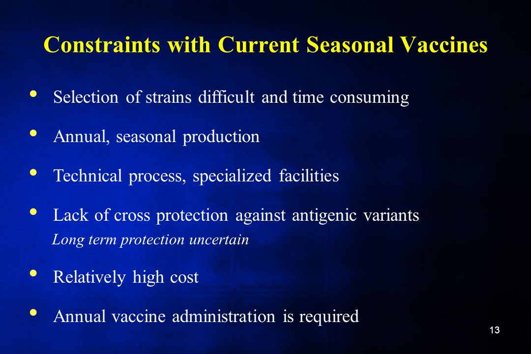 Constraints with Current Seasonal Vaccines