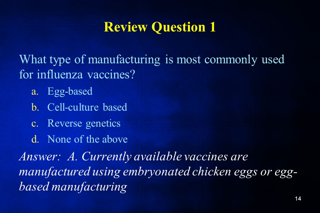 Review Question 1 What type of manufacturing is most commonly used for influenza vaccines Egg-based.
