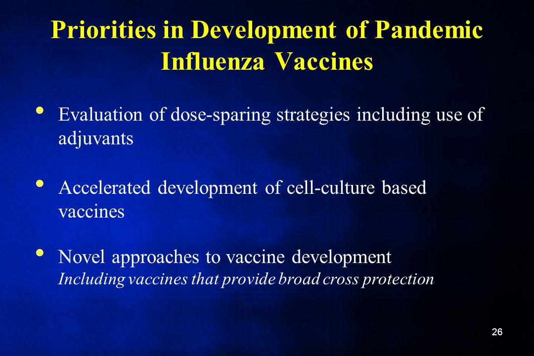 Priorities in Development of Pandemic Influenza Vaccines