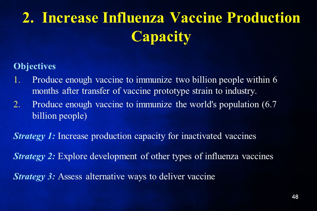 2. Increase Influenza Vaccine Production Capacity