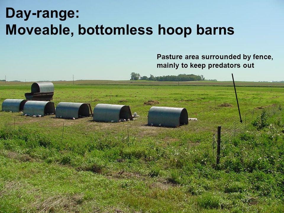 Moveable, bottomless hoop barns