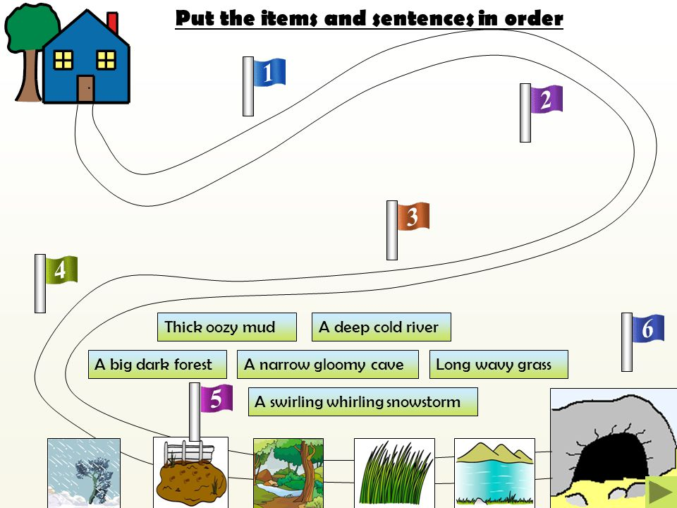 Put the items and sentences in order