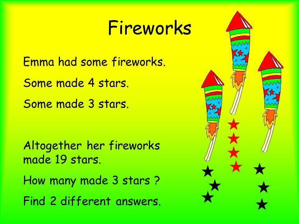 Fireworks « « « « « « « « « « Emma had some fireworks.