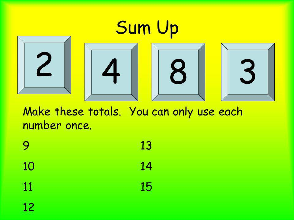 2 4 8 3 Sum Up Make these totals. You can only use each number once.