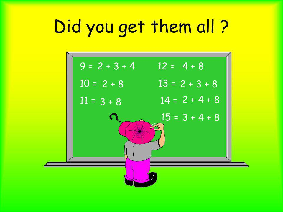 Did you get them all 9 = 12 = 10 = 13 = 11 = 14 = 15 = 2 + 3 + 4