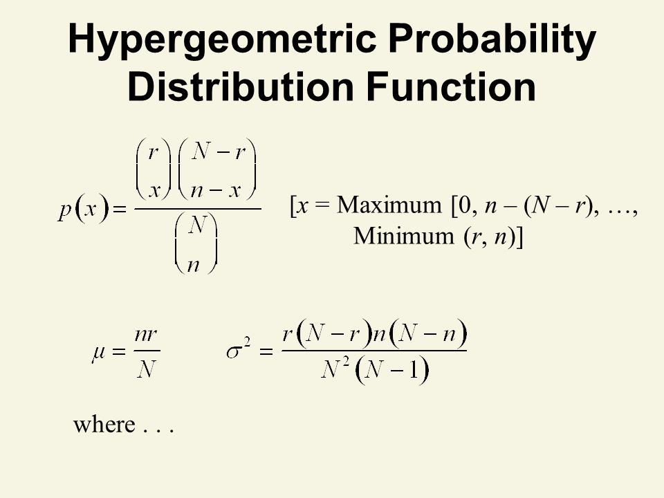 Hypergeometric Probability Distribution Function