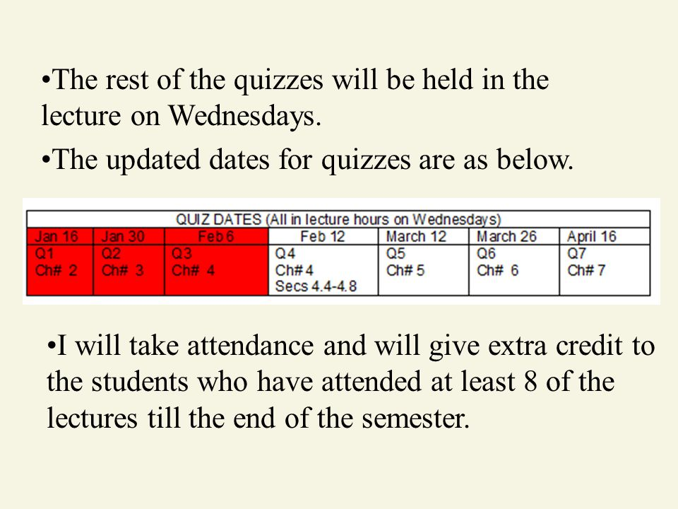 The rest of the quizzes will be held in the lecture on Wednesdays.