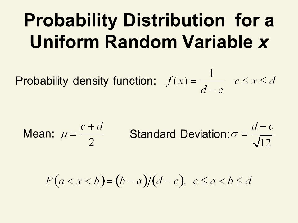 Probability Distribution for a Uniform Random Variable x