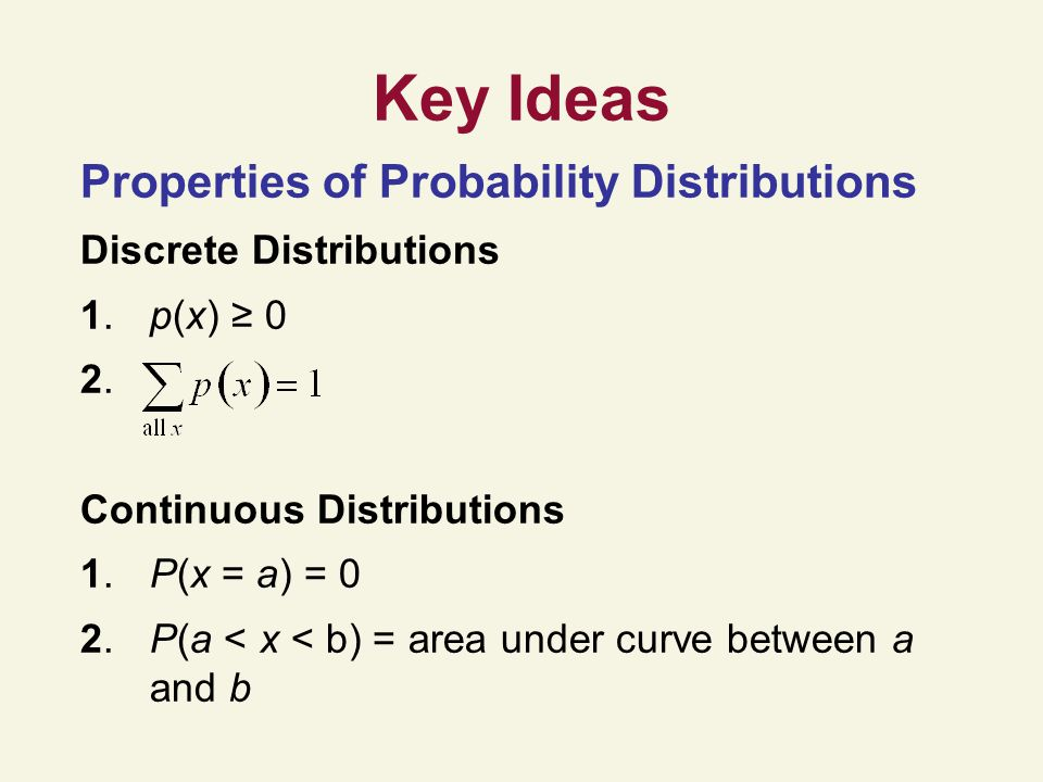 Key Ideas Properties of Probability Distributions