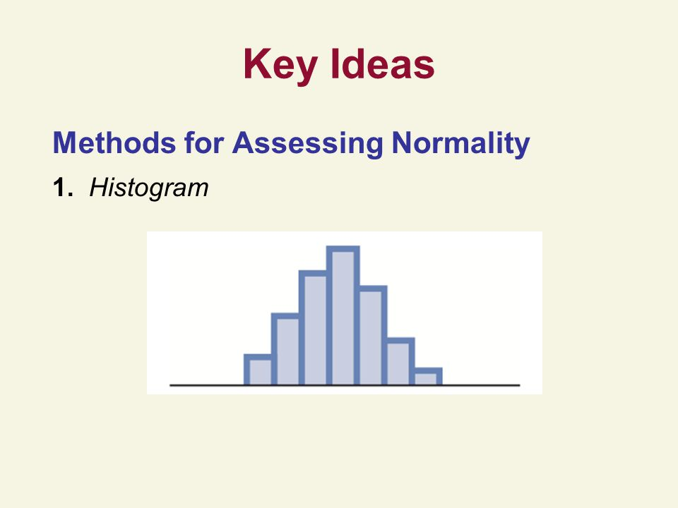 Key Ideas Methods for Assessing Normality 1. Histogram