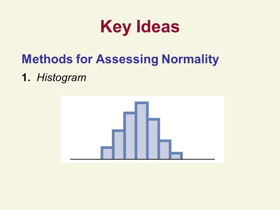 Key Ideas Methods for Assessing Normality 1. Histogram