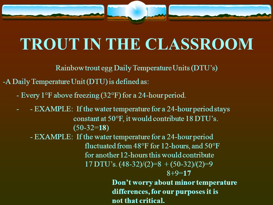 Rainbow trout egg Daily Temperature Units (DTU's)