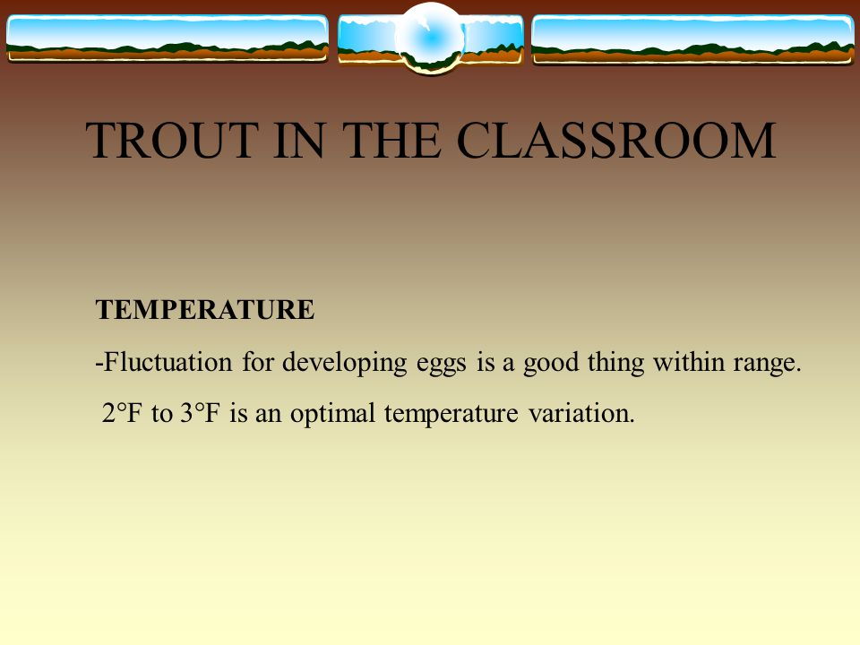 TROUT IN THE CLASSROOM TEMPERATURE