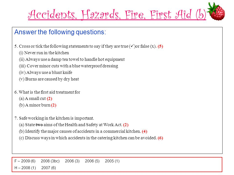 Accidents, Hazards, Fire, First Aid (b)