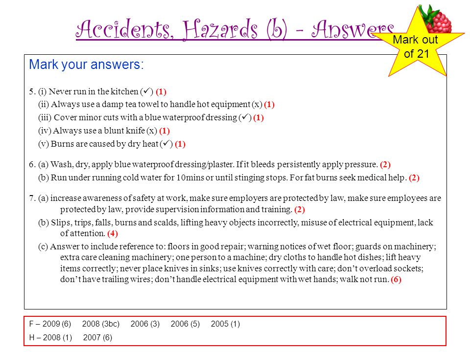 Accidents, Hazards (b) - Answers