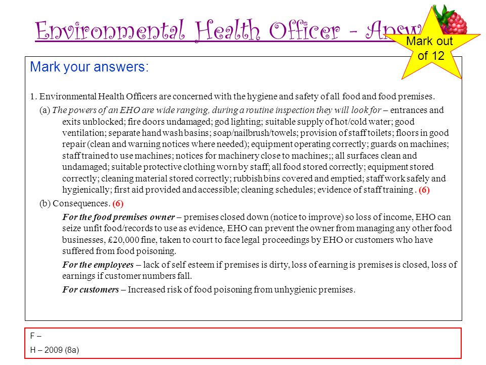 Environmental Health Officer - Answers