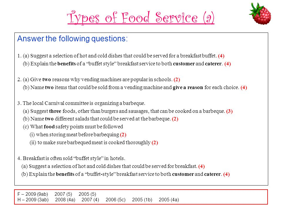 Types of Food Service (a)