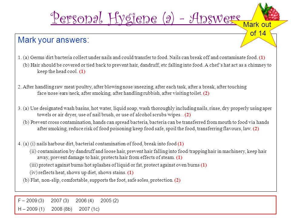 Personal Hygiene (a) - Answers