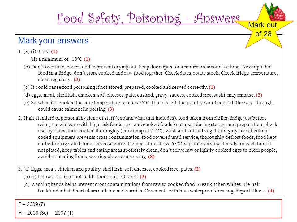 Food Safety, Poisoning - Answers