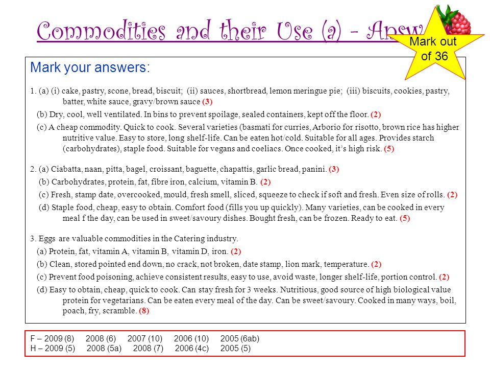 Commodities and their Use (a) - Answers