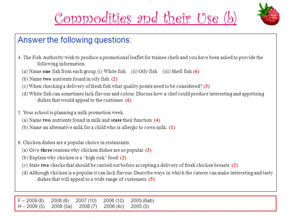 Commodities and their Use (b)