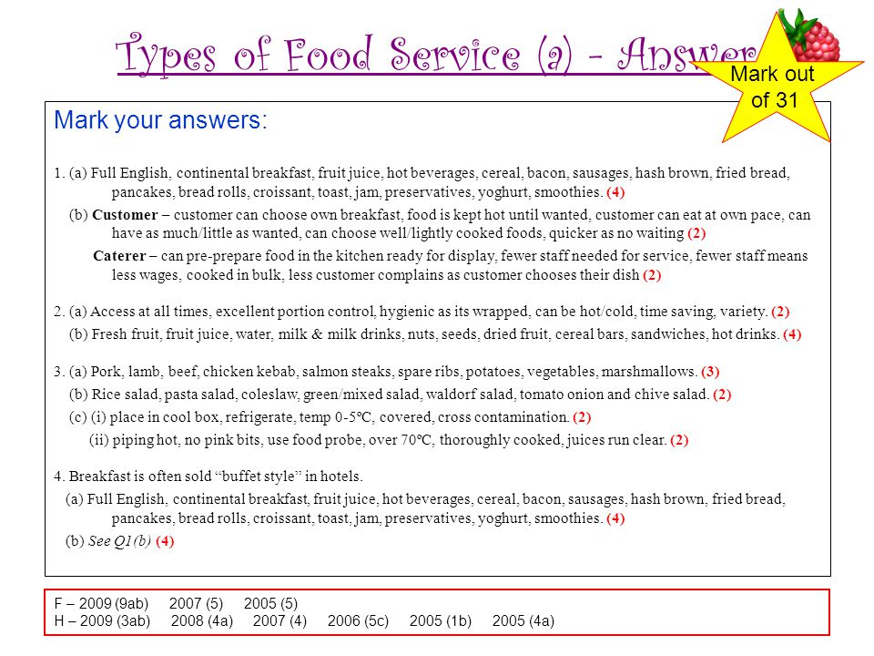 Types of Food Service (a) - Answer
