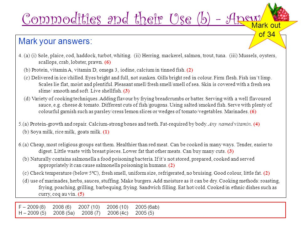 Commodities and their Use (b) - Answers