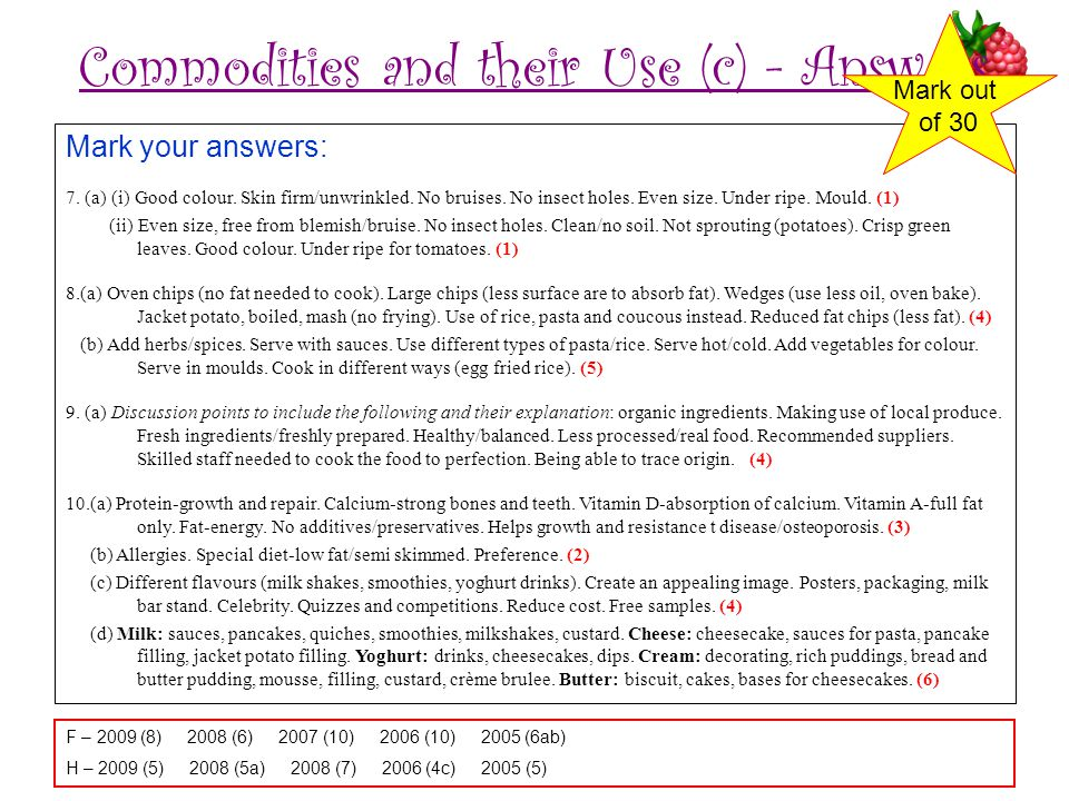Commodities and their Use (c) - Answers