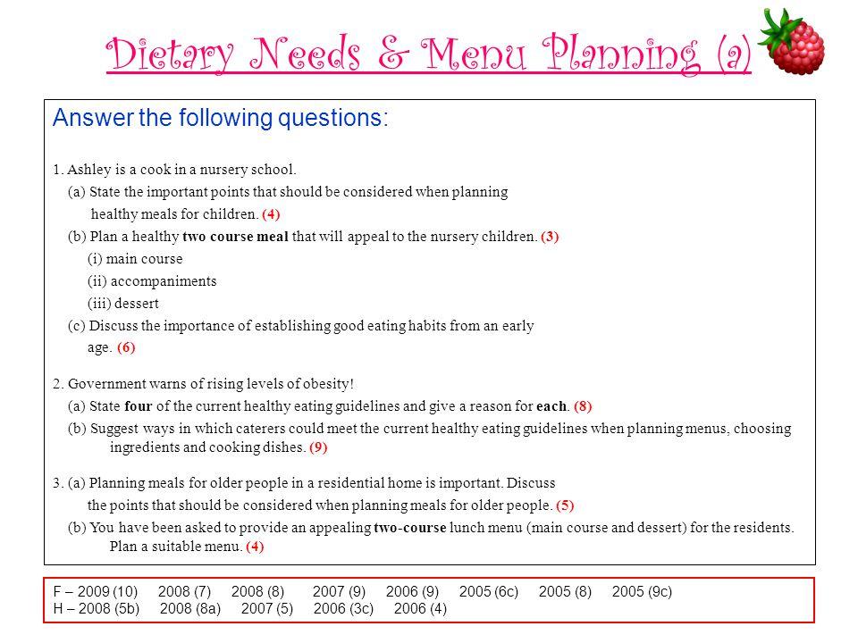 Dietary Needs & Menu Planning (a)
