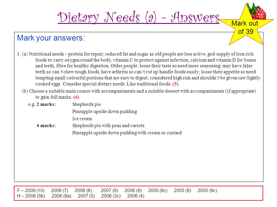 Dietary Needs (a) - Answers