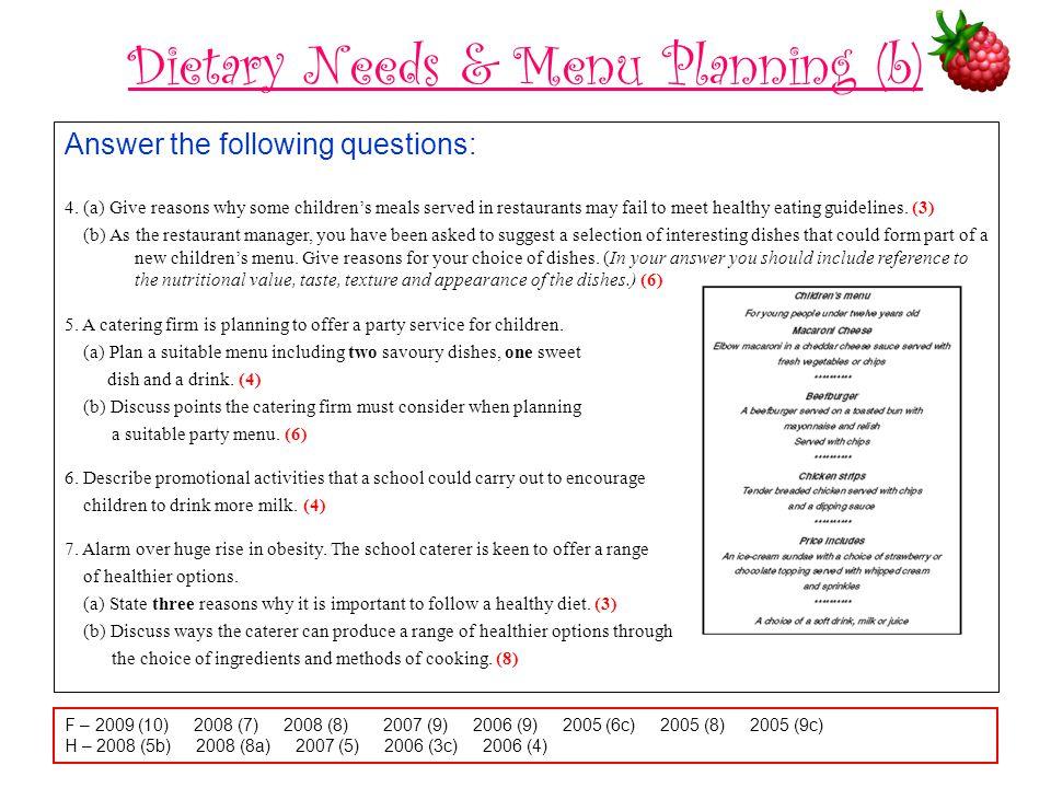 Dietary Needs & Menu Planning (b)