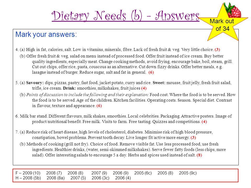 Dietary Needs (b) - Answers